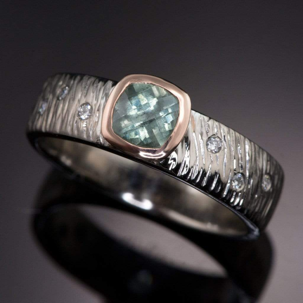 Textured Engagement Ring with Fair Trade Green Cushion Cut Sapphire & Diamonds Accents
