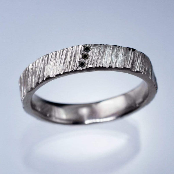 Saw Cut Texture Wedding Band With 3 Black Diamond Accents