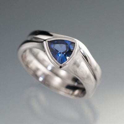 Tetra Bridal Set Trillion Lab Created Blue Sapphire Bezel Engagement Ring and Wedding Band - by Nodeform