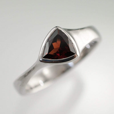 Trillion Garnet Bezel Solitaire Engagement Ring