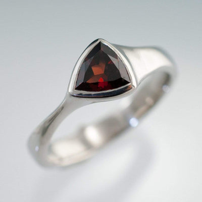 Trillion Garnet Bezel Solitaire Engagement Ring - by Nodeform