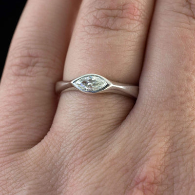 Marquise Diamond Bezel Solitaire Engagement Ring - by Nodeform