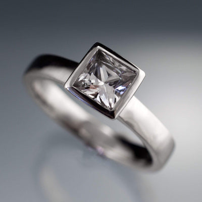 White Sapphire Engagement Ring Princess Cut Bezel Solitaire - by Nodeform