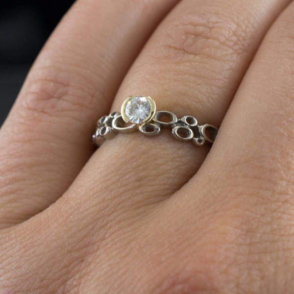 Cluster Golden Half Bezel Round Moissanite Narrow Band Engagement Ring