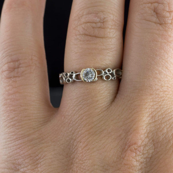 Cluster Gold Half Bezel Moissanite Engagement Ring, Narrow Silver/Palladium Band, size 7.5