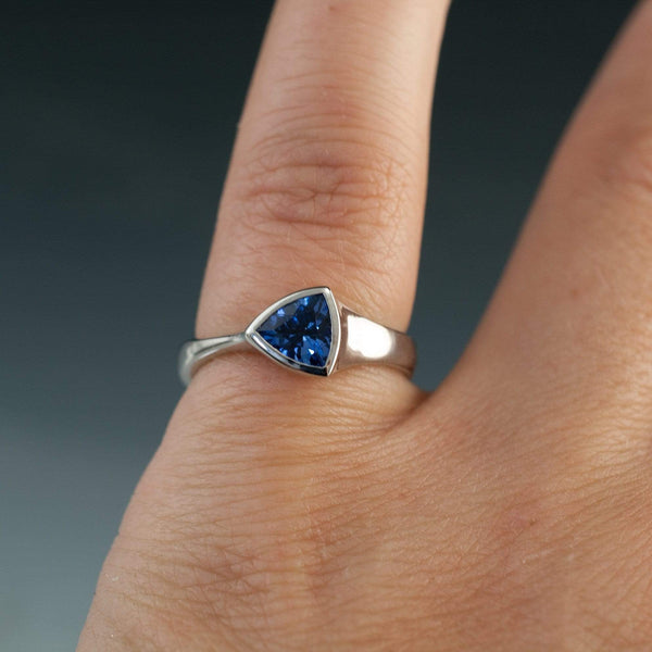 Trillion Genuine Blue Sapphire Bezel Solitaire Engagement Ring