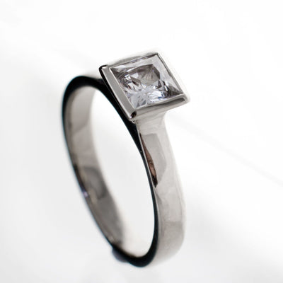 Princess Cut White Sapphire Bezel Solitaire Engagement Ring