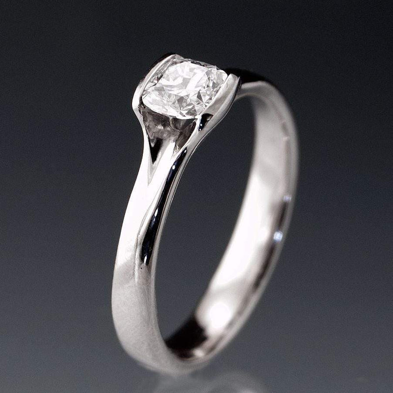 Cushion 0.5 Carat Diamond Half Bezel Set Fold Solitaire Engagement Ring