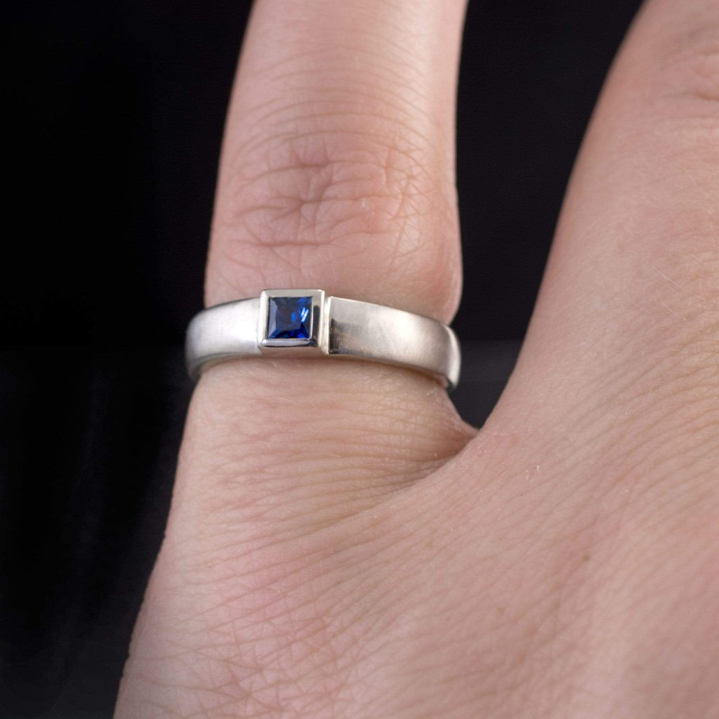 Princess Cut Blue Sapphire Modern Bezel Set Wedding Ring
