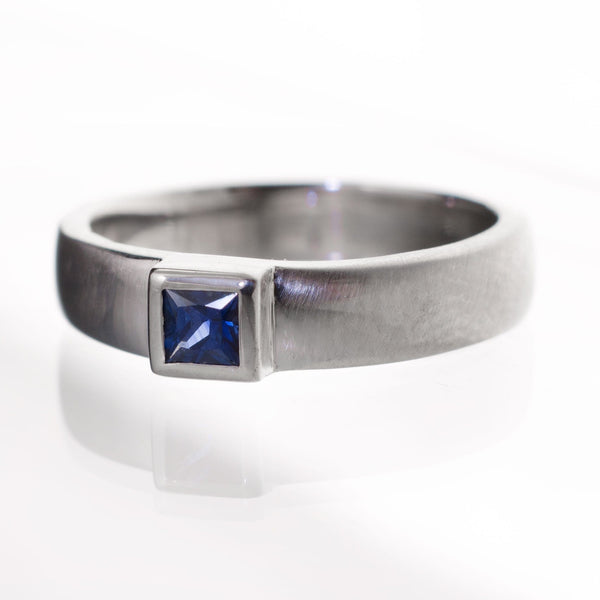 Princess Cut Blue Sapphire Modern Bezel Set Wedding Ring - by Nodeform