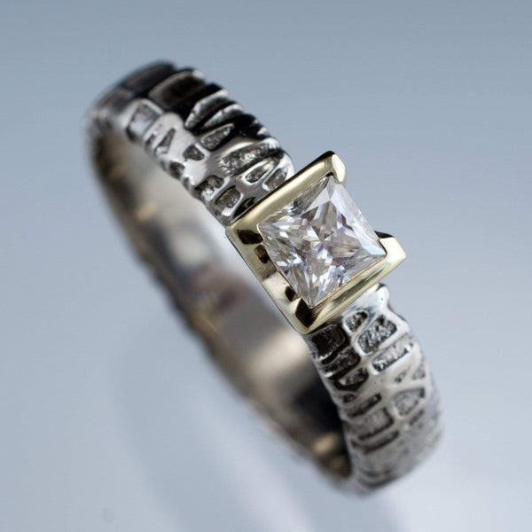 Princess Moissanite Half Bezel Woven Texture Engagment Ring, size 8 - by Nodeform