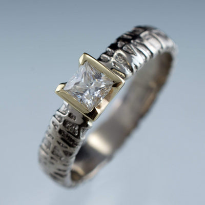 Princess Moissanite Half Bezel Woven Texture Engagment Ring - by Nodeform