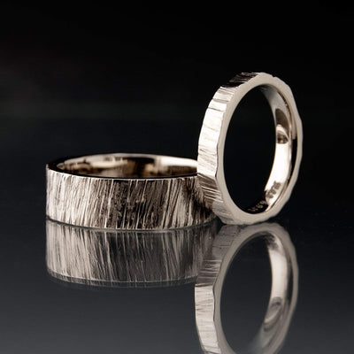 Saw Cut Texture Wedding Bands, Set of 2 Rings, His and Hers