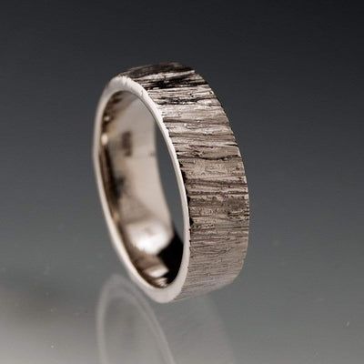 Set of 2 Wide Saw Cut Texture Wedding Bands