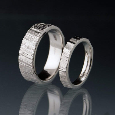 Saw Cut Texture Wedding Bands, Set of 2 Rings, His and Hers - by Nodeform