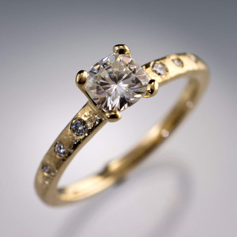 Cushion Moissanite Prong Textured Solitaire Engagement Ring