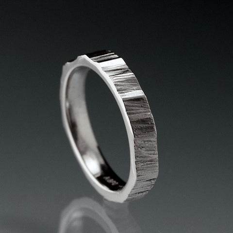Narrow Saw Cut Texture Wedding Band - by Nodeform