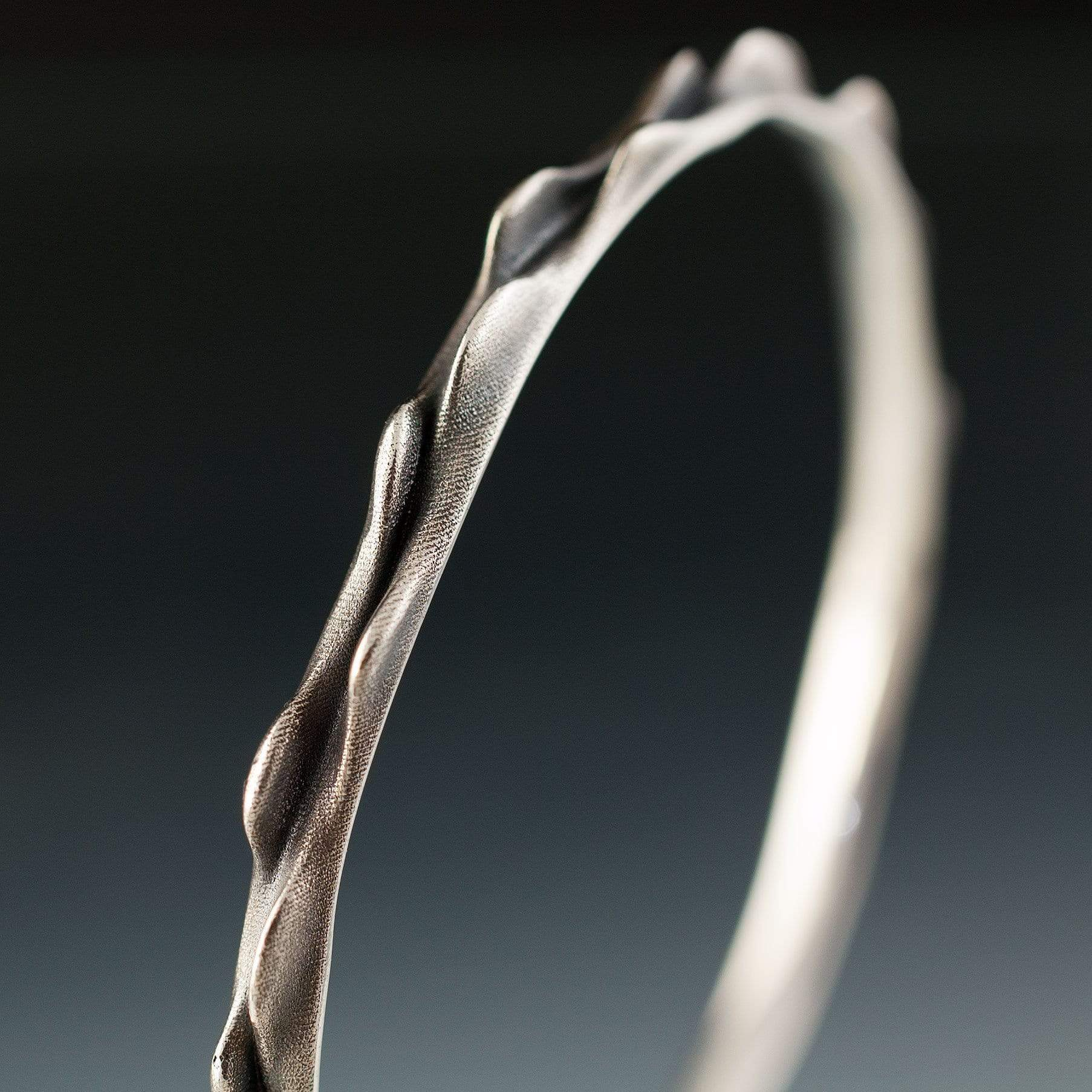 Bumpy Bracelet Bangle 3D Printed and Cast Oxidized Sterling Silver Bangle, Ready to Ship