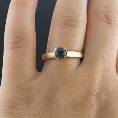 Master Cut Blue Montana Sapphire Half Bezel Engagement Ring - by Nodeform
