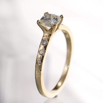 Cushion Moissanite Prong Textured Solitaire Engagement Ring - by Nodeform