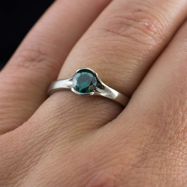 Green Round Moissanite Fold Semi-Bezel Set Solitaire Engagement Ring