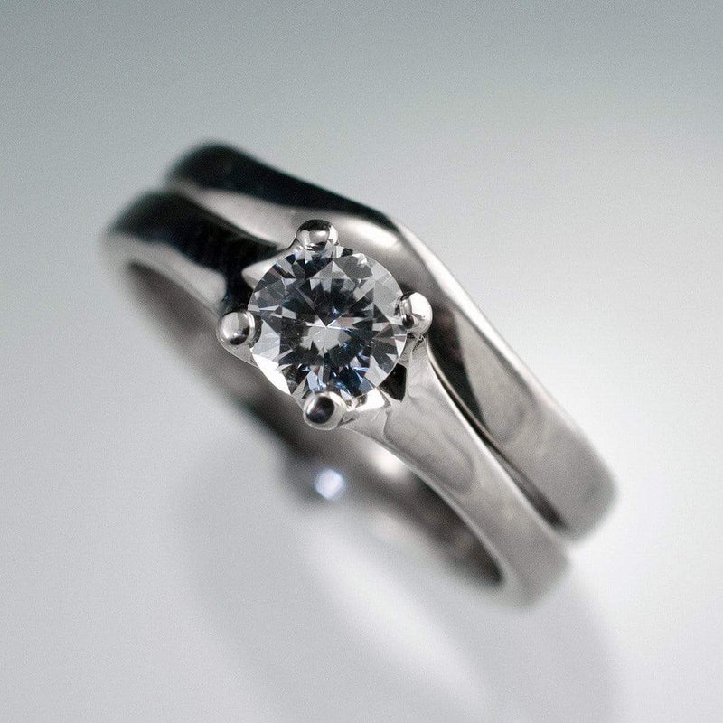 Bridal Set White Sapphire Prong Engagement Ring and Wedding Band