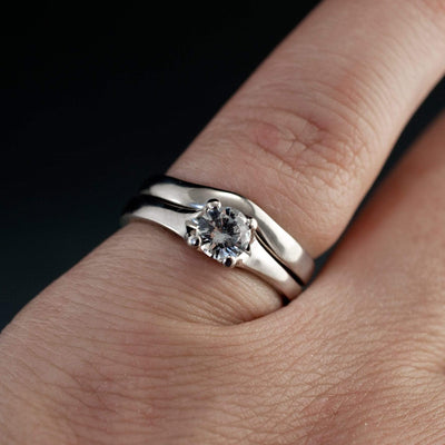 Bridal Set White Sapphire Prong Engagement Ring and Wedding Band - by Nodeform