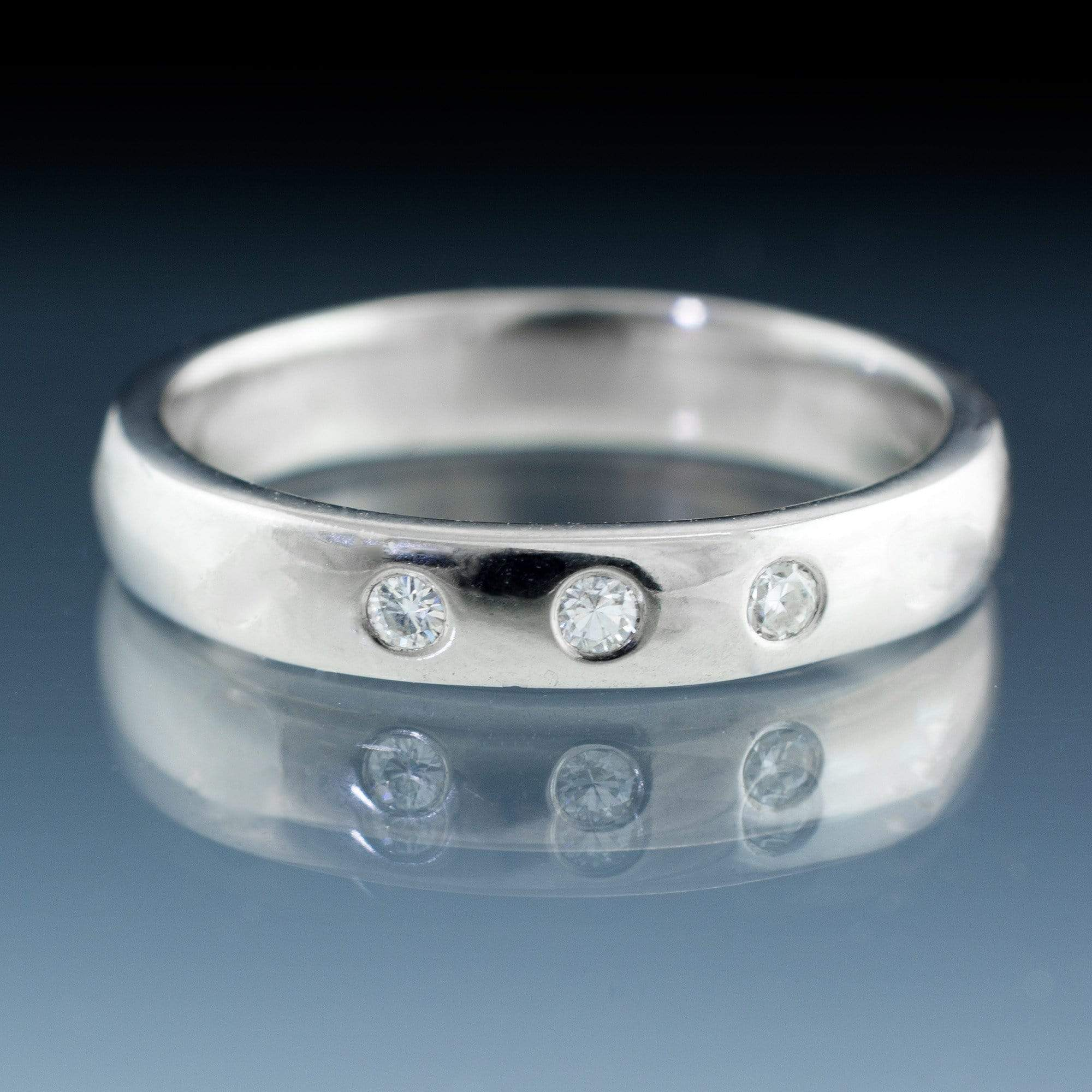 Narrow 3 White Sapphire Wedding Ring
