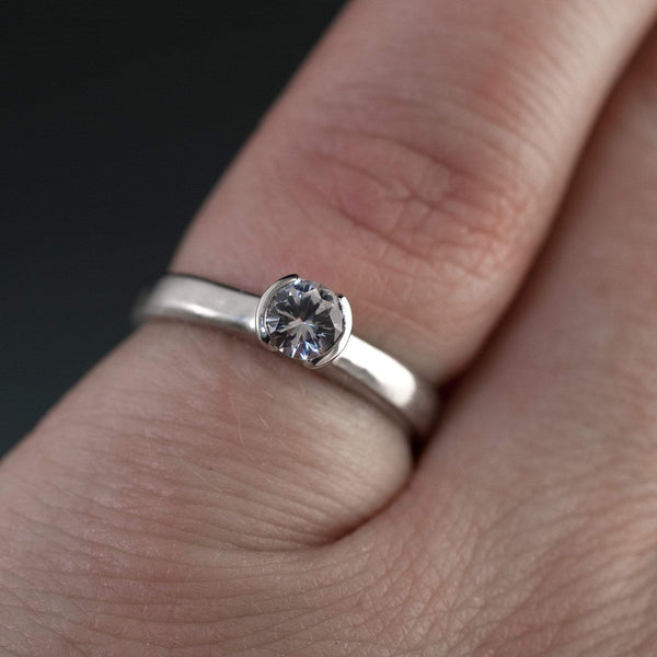 Tulip White or Blue Sapphire Half Bezel Engagement Ring in Silver/Palladium, size 4.5-7.5