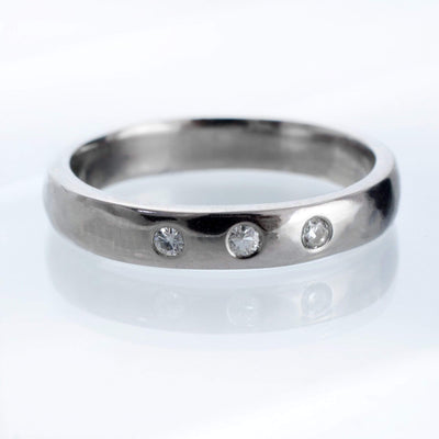 Narrow 3 Moissanite Wedding Ring