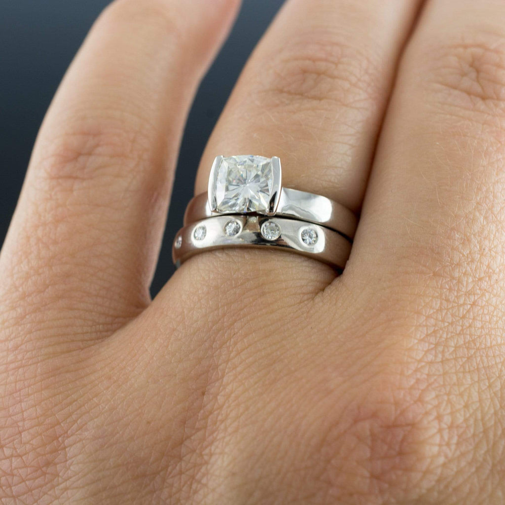 bridal set cushion moissanite ring modified tension engagement and wedding ring by nodeform - Moissanite Wedding Rings