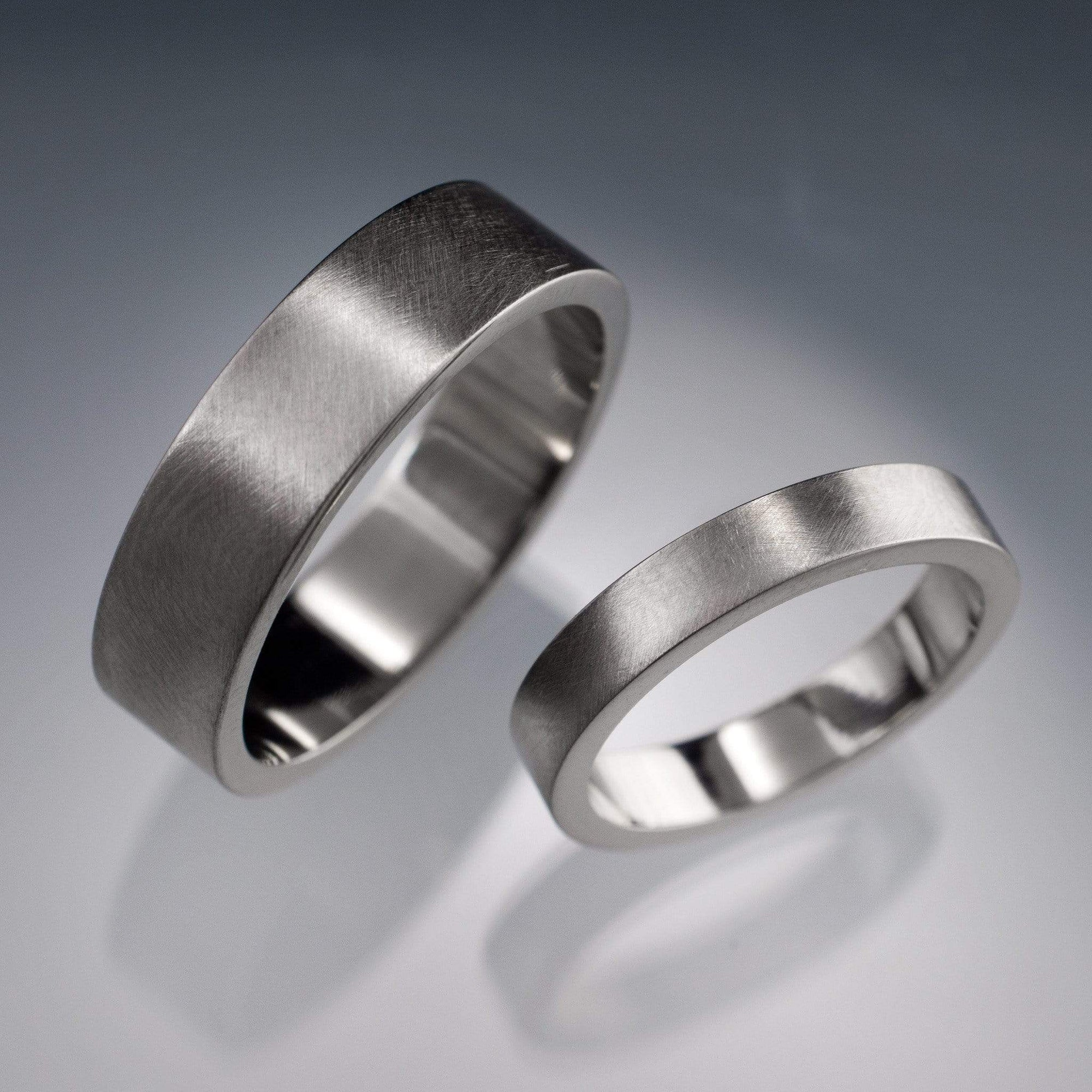 Simple Flat Style Wedding Bands, Set of 2 Wedding Rings