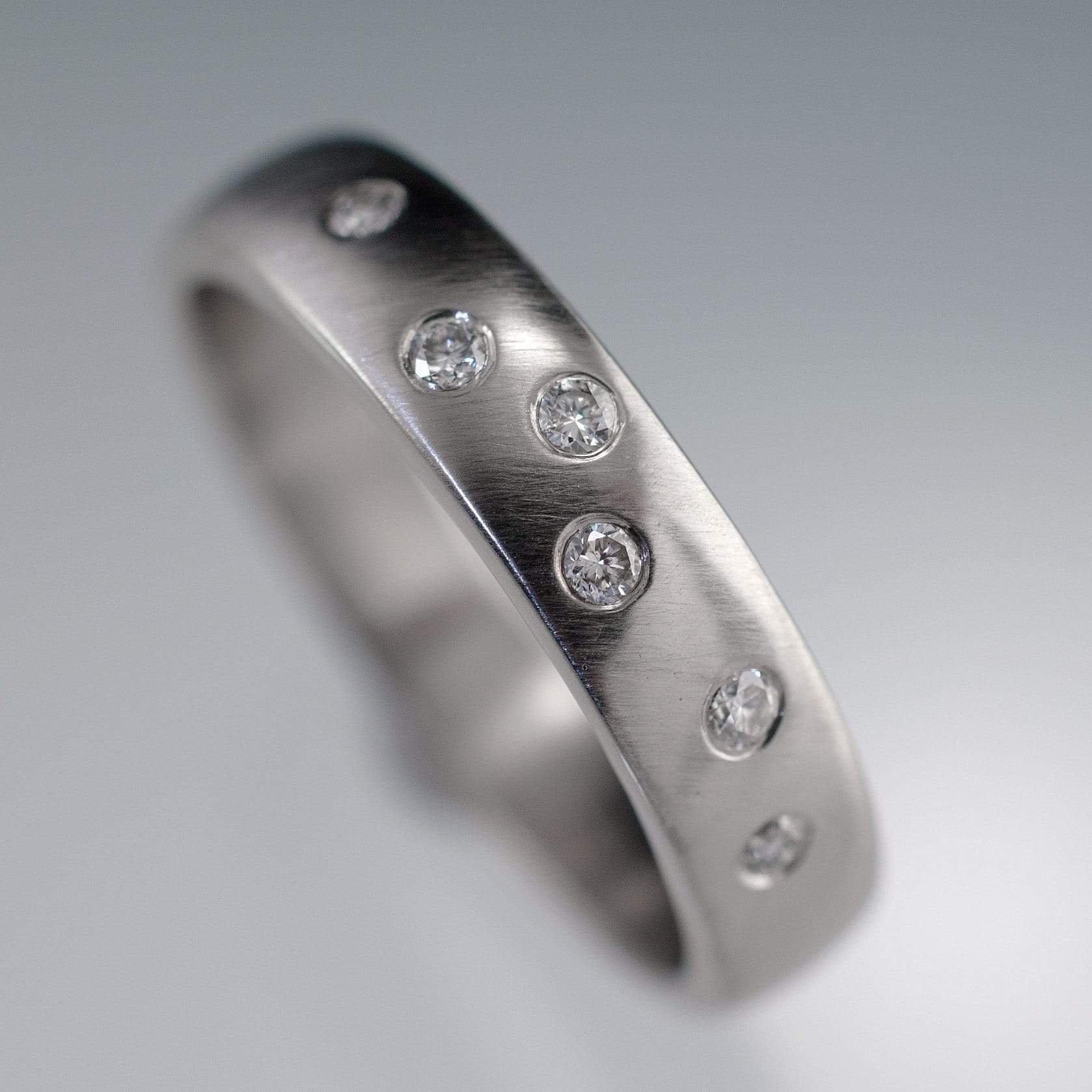 Diamond Wedding Ring, Random Diamond Flush Set Band - by Nodeform