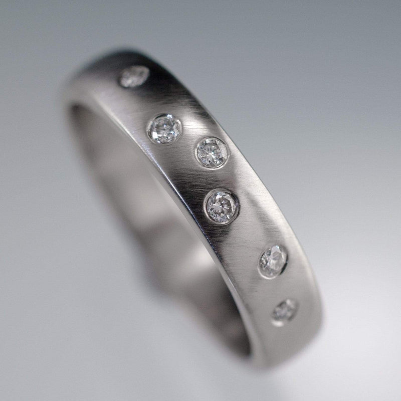 Diamond Wedding Ring, Random Diamond Flush Set Band