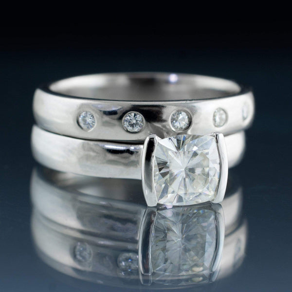 Bridal Set Cushion Moissanite Ring Modified Tension Engagement and Wedding Ring