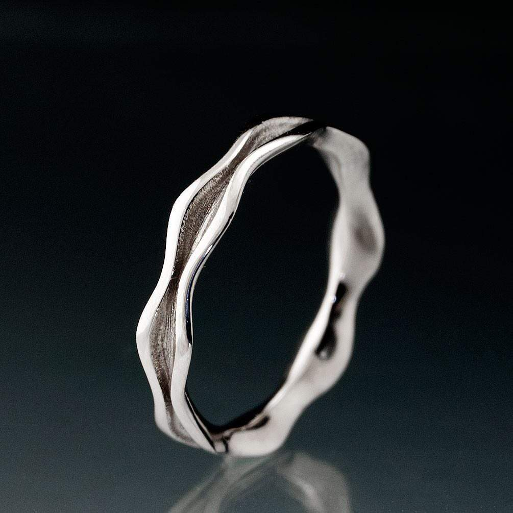 Wave Narrow Wedding Ring Band - by Nodeform