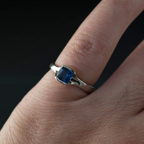 Cushion Cut Blue Sapphire Fold Solitaire Engagement Ring