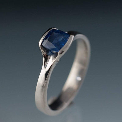 Cushion Cut Blue Sapphire Fold Engagment Ring Bridal Set - by Nodeform