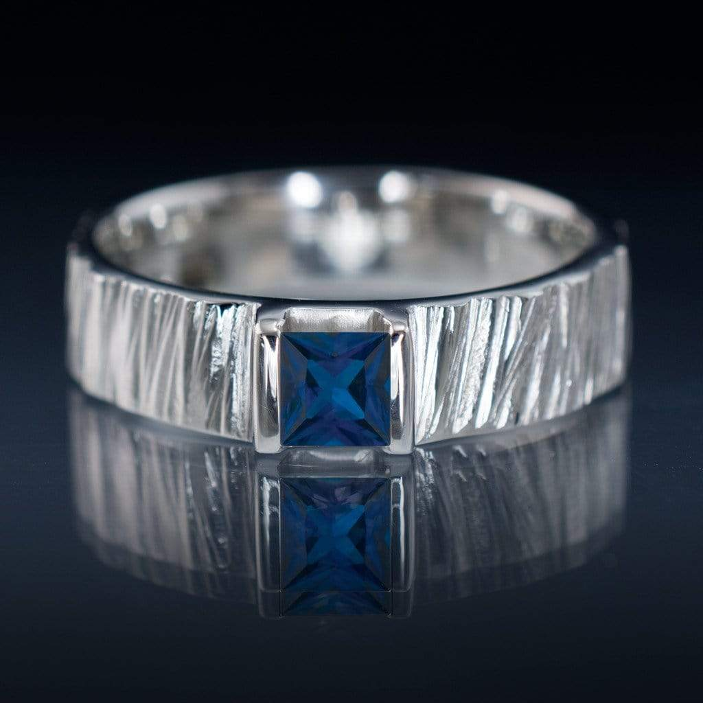 Princess Square Blue Sapphire Saw Cut Textured Modern Wedding Or Engagement  Ring  By Nodeform