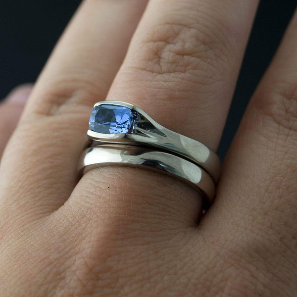 Lab Created Cushion Blue Sapphire Fold Solitaire Engagement Ring