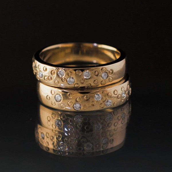 Diamond Star Dust Yellow Gold Wedding Ring