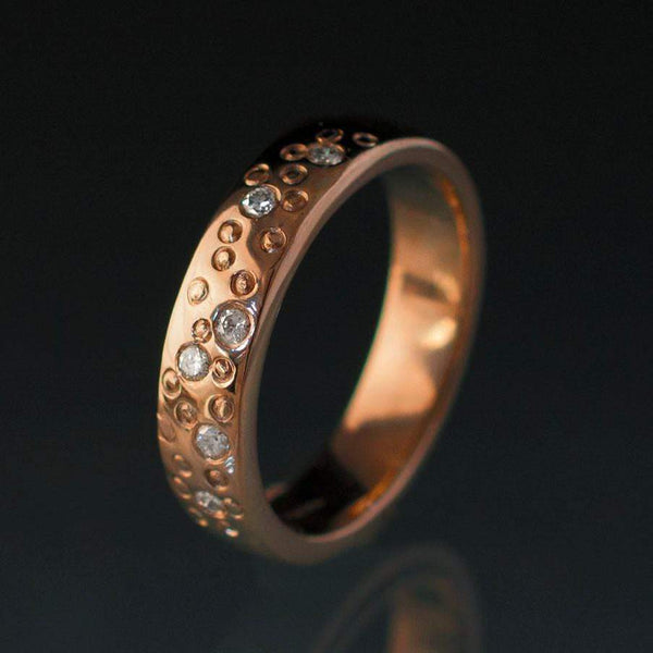 Diamond Star Dust Rose Gold Wedding Ring - by Nodeform