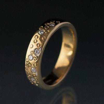 Diamond Star Dust Yellow Gold Wedding Ring - by Nodeform