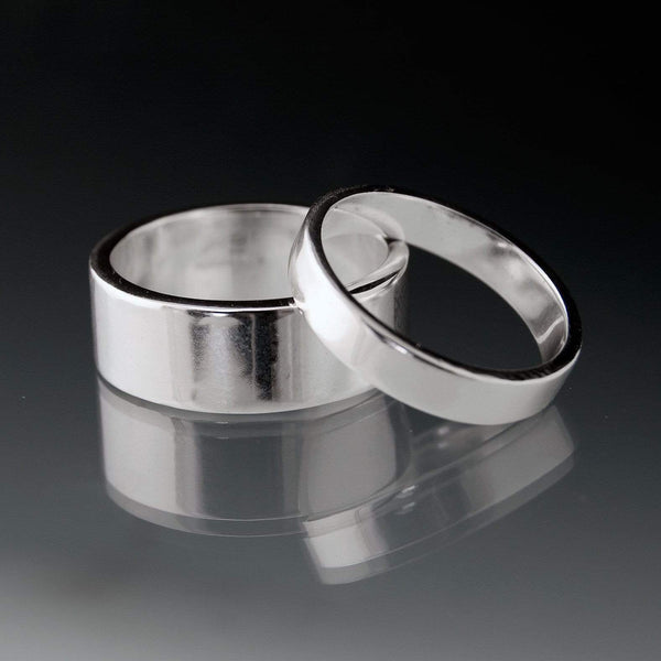 Simple Flat Style Wedding Bands, Set of 2 Wedding Rings - by Nodeform