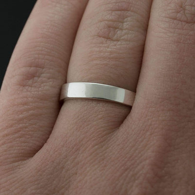 Narrow Flat Simple Wedding Band, 2-4mm Width