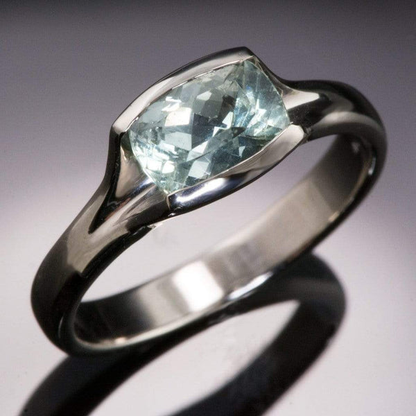 Large Cushion Fair Trade Green Sapphire Fold Engagement Ring