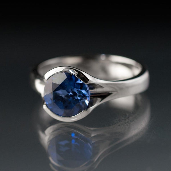Lab Created Round Blue Sapphire Fold Solitaire Engagement Ring