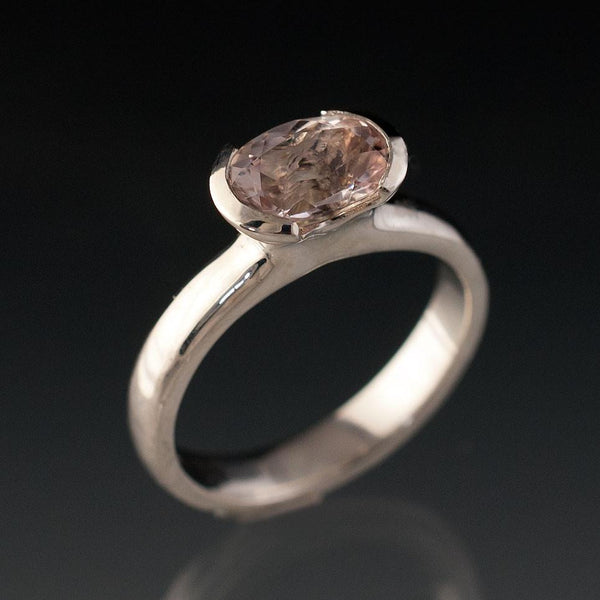 Oval Morganite Half Bezel Solitaire Engagement Ring