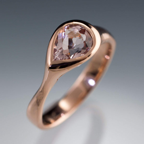 Pear Pink Morganite Sideways Tear Drop Bezel Solitaire Engagement Ring - by Nodeform