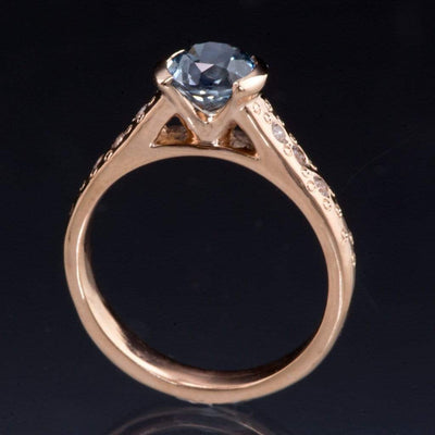 Blue to Green Eldorado Bar Montana Sapphire Half Bezel Star Dust Engagement Ring - by Nodeform